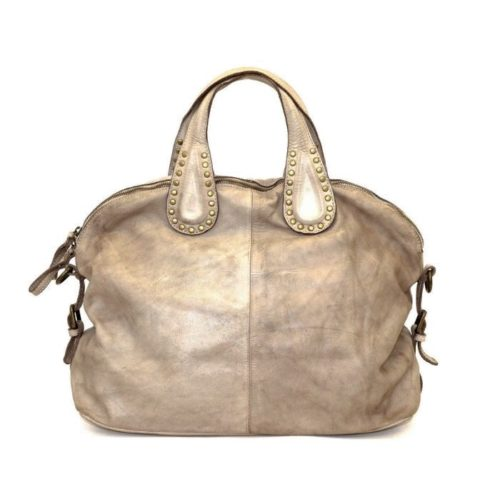 LILIANA Handbag With Studded Handle Light Taupe