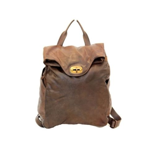 AURORA Backpack With Lock Dark Brown