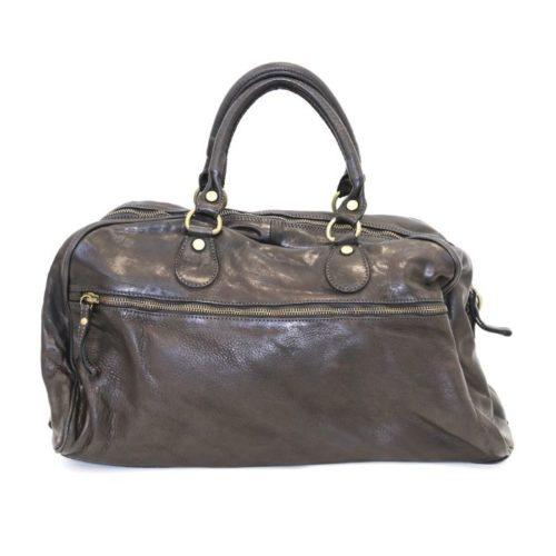 ANTHEA Leather Duffle Bag Black