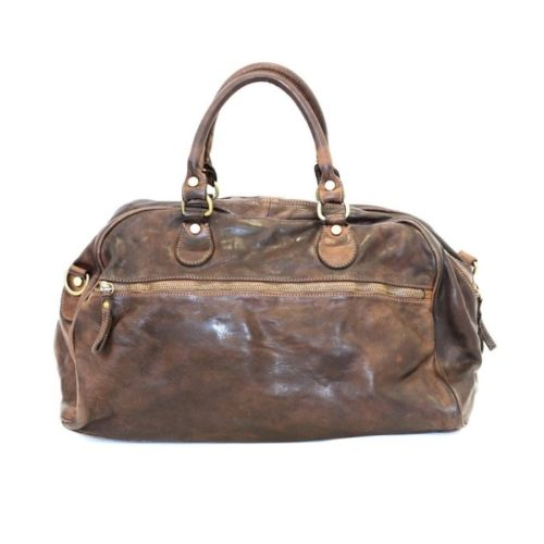 ANTHEA Leather Duffle Bag Dark Brown