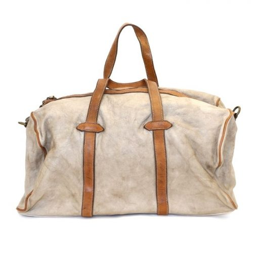 GAIA Leather Travel Bag Beige