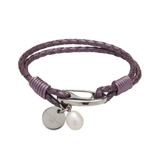 Unique & Co Women's Leather Bracelet With Pearl Charm Fruit Punch