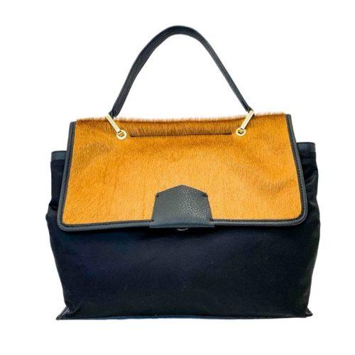 AMELIE Nylon & Pony Hair Hand Bag Mustard