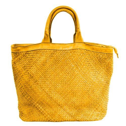CHIARA Small Weave Tote Bag Mustard