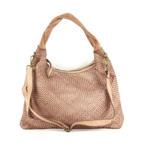 ANNA Woven Shoulder Bag Blush