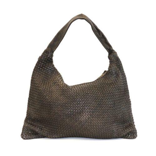 ANNA Woven Shoulder Bag Dark Brown