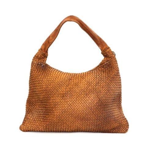 ANNA Woven Shoulder Bag Tan