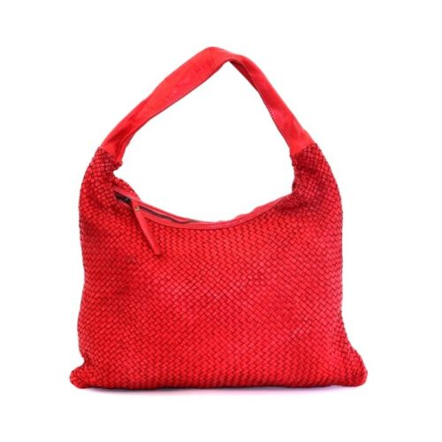 ANNA Woven Shoulder Bag Red