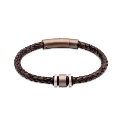 Unique & Co Men's Leather Bracelet With Brown & Steel Element – Black