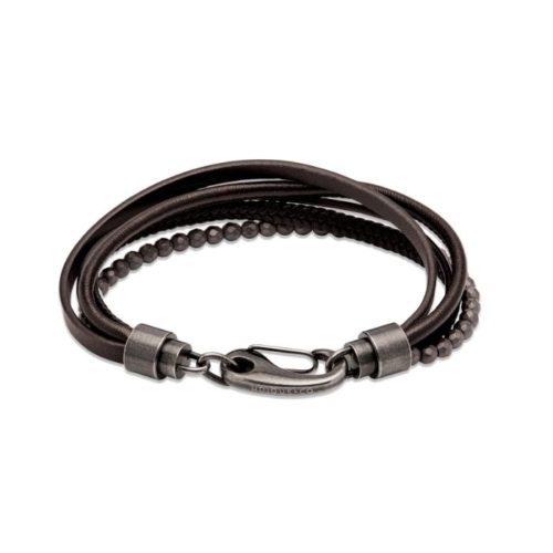 Unique & Co Men's Layered Leather Bracelet – Black