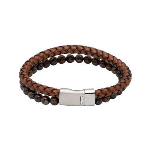 Unique & Co Men's Double Bracelet Leather And Beads – Antique Brown