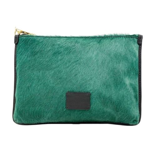 THEA Pony Hair Clutch Bag Forest Green