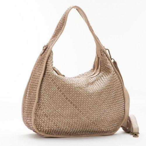TIFFY Large Woven Shoulder Bag Beige