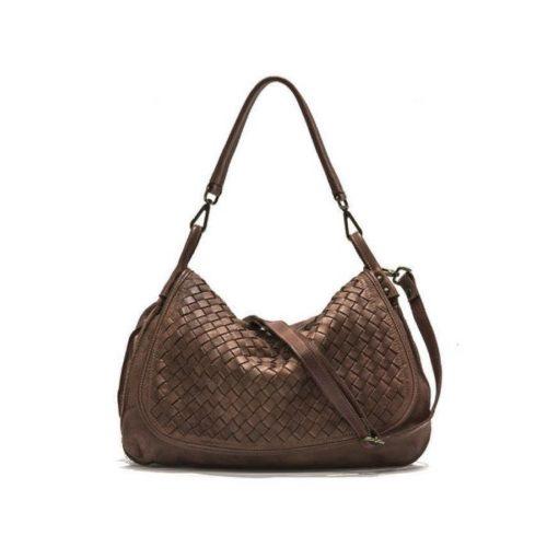 FRANCESCA Woven Flap Bag Dark Brown