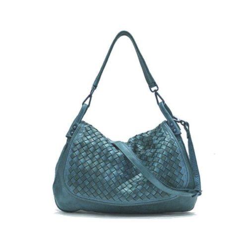 FRANCESCA Woven Flap Bag Teal