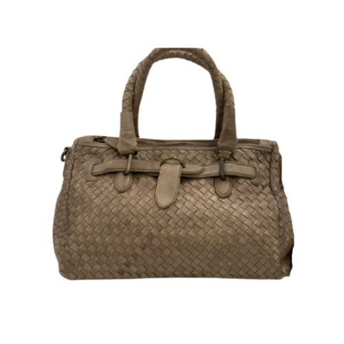 PATRIZIA Woven Leather Hand Bag Taupe