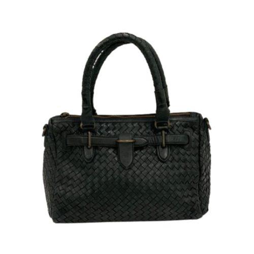 PATRIZIA Woven Leather Hand Bag Black