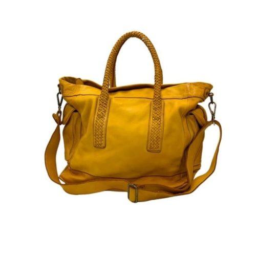 TOKYO Smooth Leather Handbag With Woven Handles Mustard