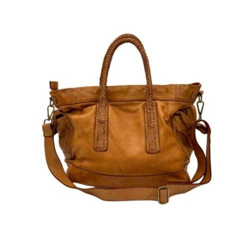 TOKYO Smooth Leather Handbag With Woven Handles Tan