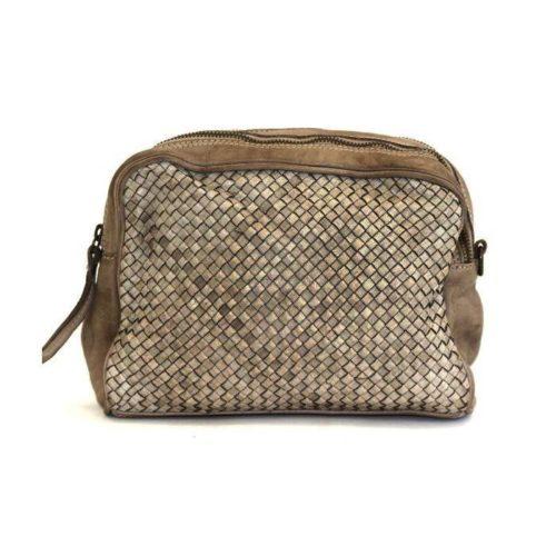 NICOLETTA Woven Multi Way Wash Bag/Cross Body Bag Taupe