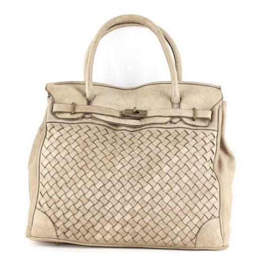 ALICIA Structured Bag Large Weave Beige