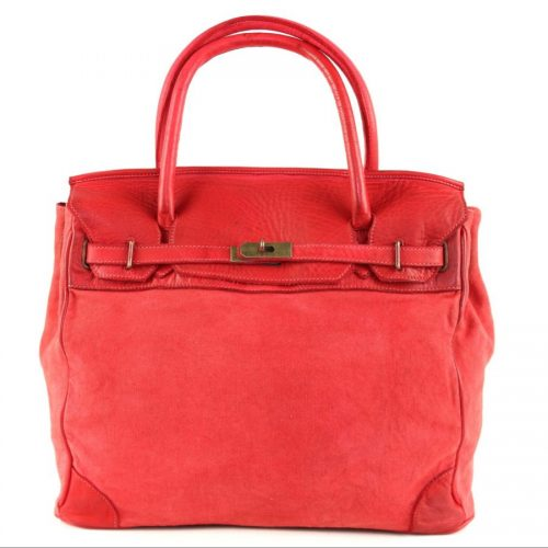 ALICIA Structured Bag With Canvas Inserts Red
