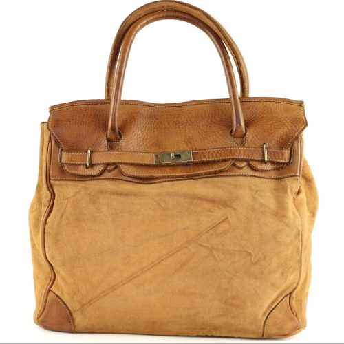 ALICIA Structured Bag With Canvas Inserts Tan
