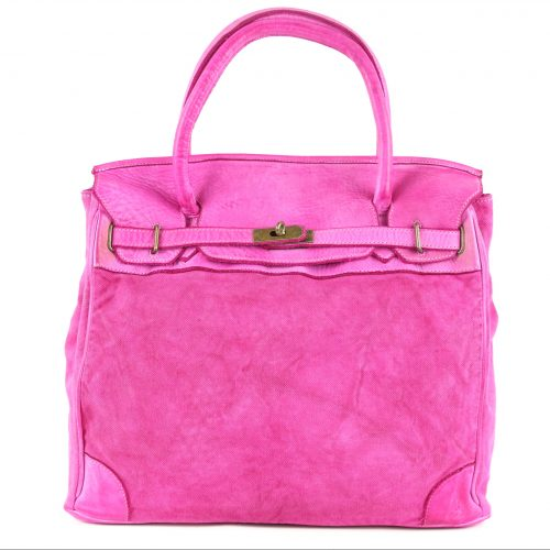 ALICIA Structured Bag With Canvas Inserts Fuchsia