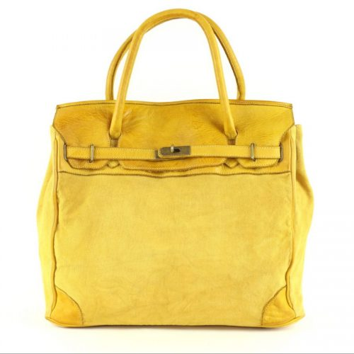 ALICIA Structured Bag With Canvas Inserts Yellow