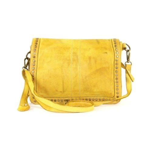 SILVINA Small Cross-body Bag With Studs Mustard