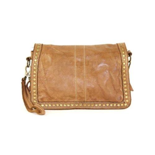 SILVINA Small Cross-body Bag With Studs Tan
