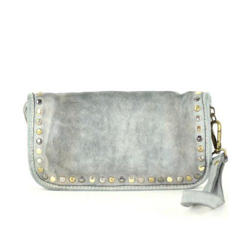 SIMONA Wrist Wallet With Studs Light Grey