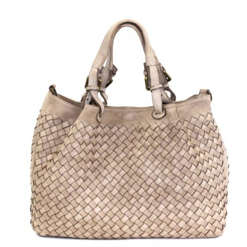 LUCIA Tote Bag Large Weave Beige
