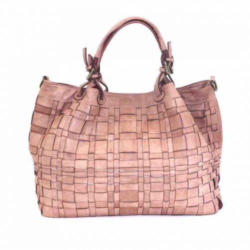 LUCIA Tote Bag Asymmetric Weave Blush
