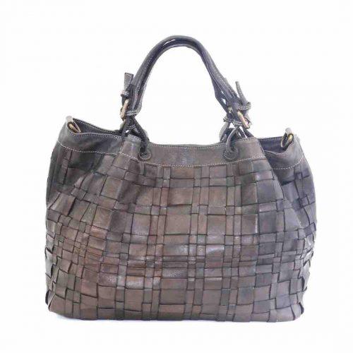 LUCIA Tote Bag Asymmetric Weave Dark Taupe