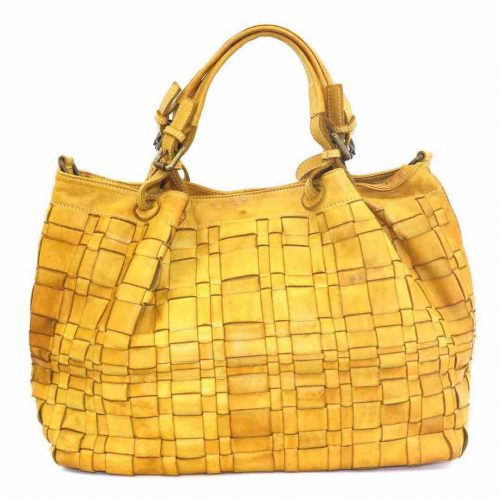 LUCIA Tote Bag Asymmetric Weave Mustard