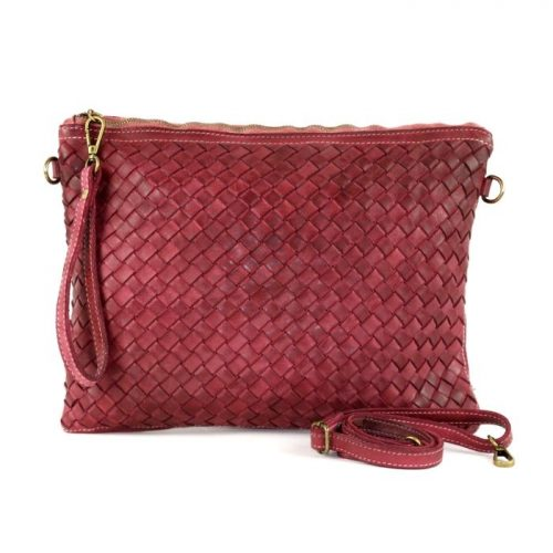 GIORGIA Woven Large Clutch Bag Bordeaux
