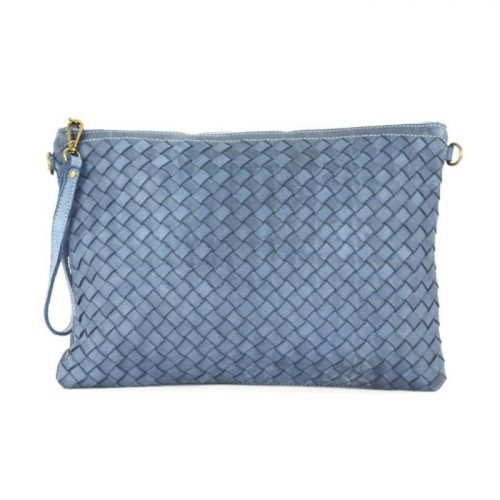 GIORGIA Woven Large Clutch Bag Denim