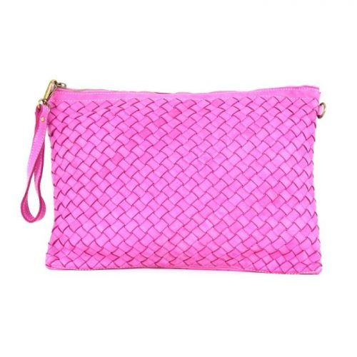 GIORGIA Woven Large Clutch Bag Fuchsia