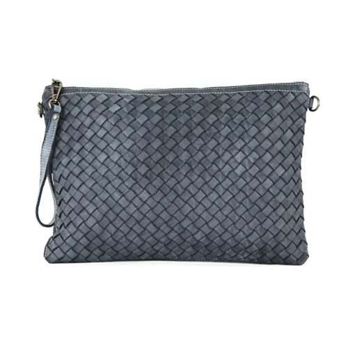 GIORGIA Woven Large Clutch Bag Dark Grey