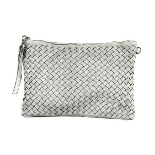 GIORGIA Woven Large Clutch Bag Light Grey