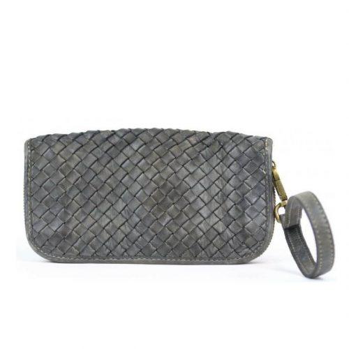 SIMONETTA Woven Wrist Wallet Dark Grey