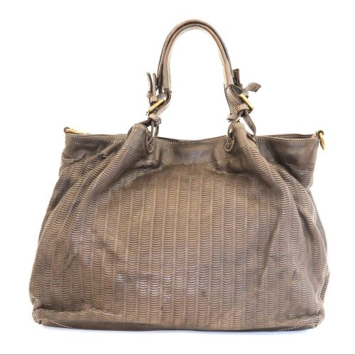 LUCIA Tote Bag Moon Cut Out Detail Brown