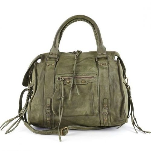 ISABELLA Hand Bag With Stitched Handle Olive
