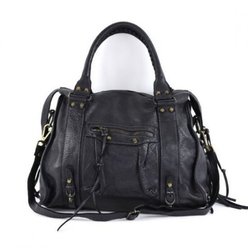 ISABELLA Hand Bag With Stitched Handle Black