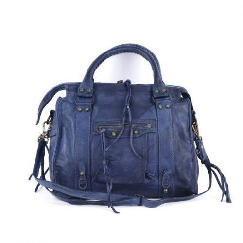 ISABELLA Hand Bag With Stitched Handle Navy