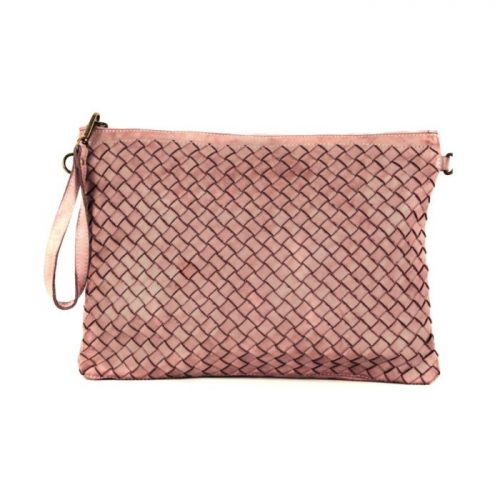 GIORGIA Woven Large Clutch Bag Blush