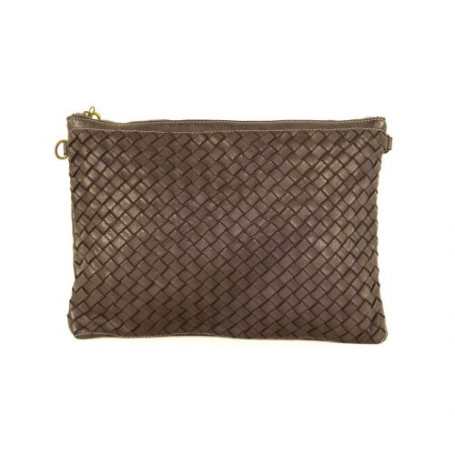 GIORGIA Woven Wristlet Bag Dark Brown