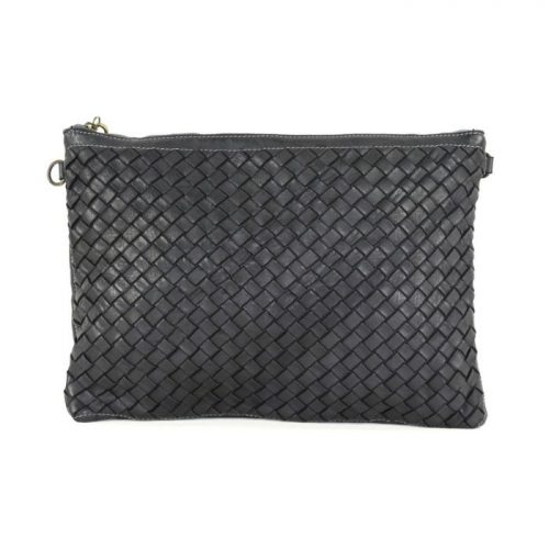 GIORGIA Woven Large Clutch Bag Black