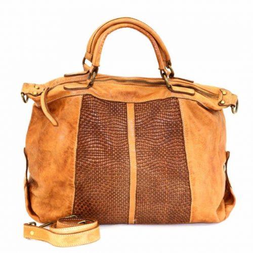 NADIA Hand Bag Woven Details Tan